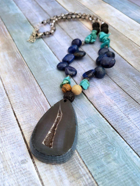 Geode Pendant Necklace with Lapis and Turquoise - Summer Indigo