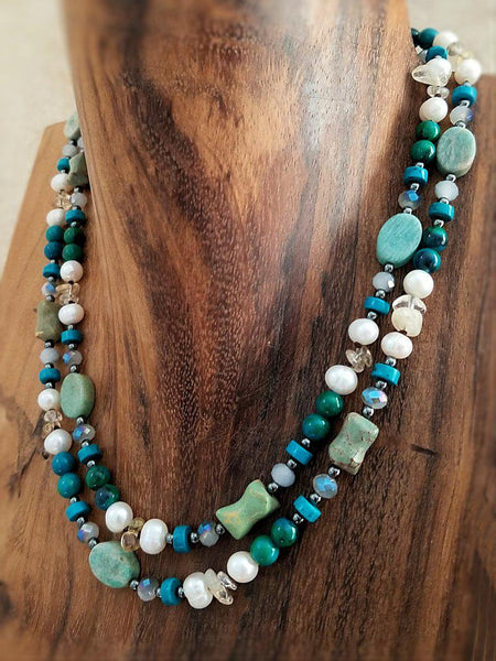 Azurite and Pearl Necklace - Summer Indigo