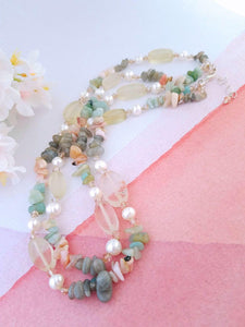 Citrine and Pearl Necklace - Summer Indigo