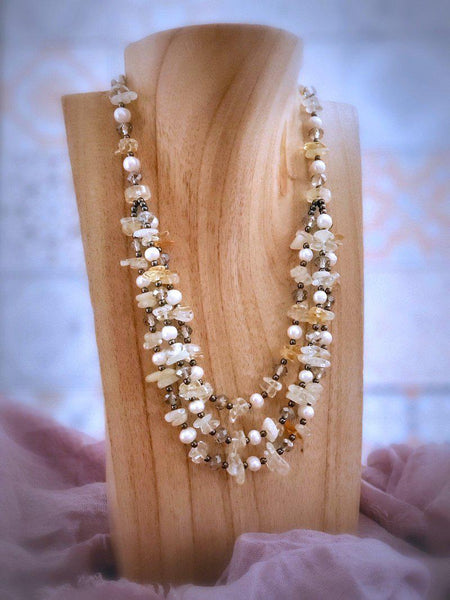 Citrine Necklace with Hematite and Pearls - Summer Indigo
