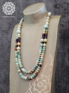 Amazonite and Amethyst Double StrandNecklace - Summer Indigo