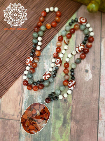 Carnelian Necklace with Dzi Beads and Labradorite - Summer Indigo