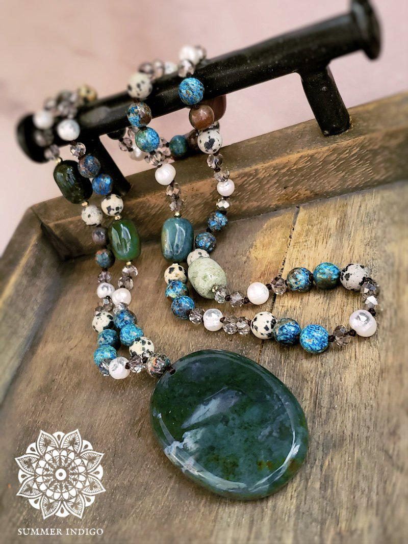 Indian Agate Necklace with Pearls and Ocean and Dalmatian Jasper - Summer Indigo