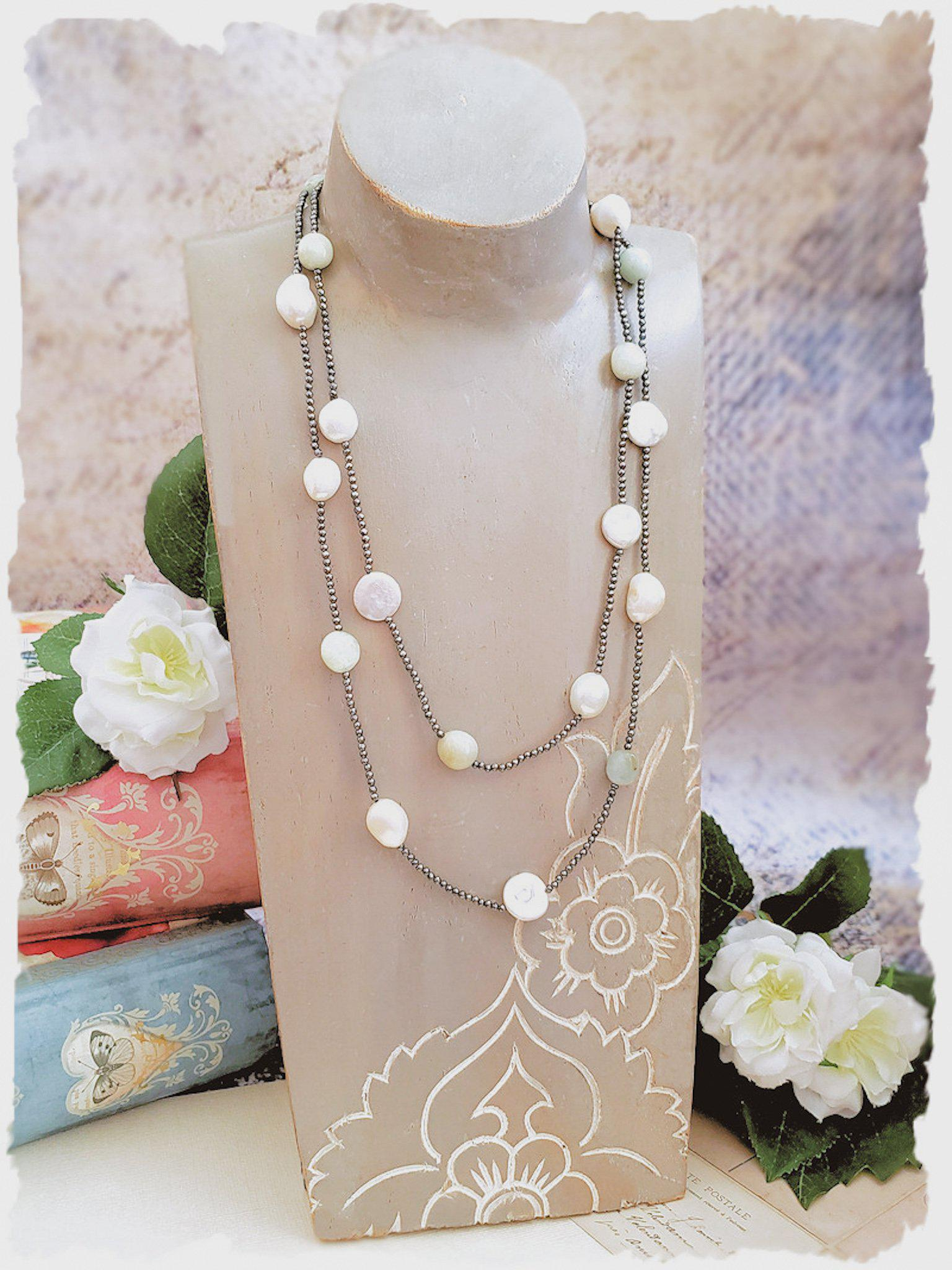 Hematite Necklace with Pearls and Amazonite - Summer Indigo