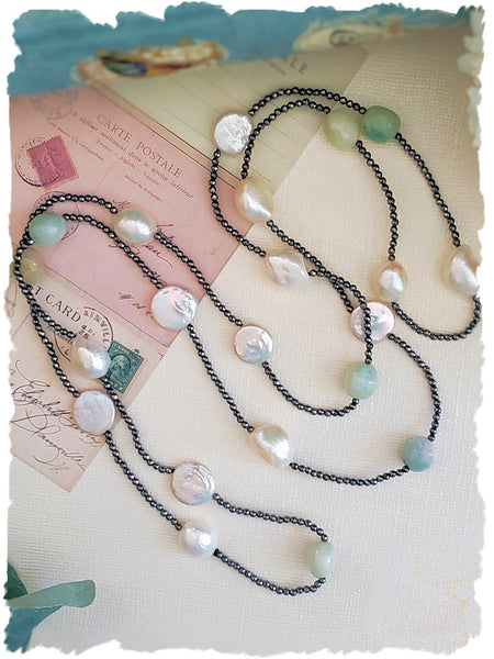 Hematite Necklace with Amazonite and Pearls - Summer Indigo