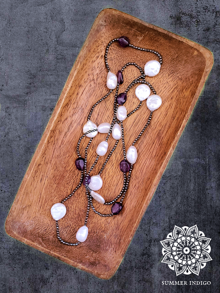 Hematite Amethyst and Pearl Necklace - Summer Indigo