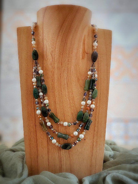 Indian Agate Necklace with Pearls and Crystals - Summer Indigo