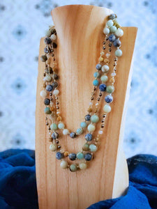 3 Strand Necklace.  Sodalite - Amazonite - Picture Jasper - Hematite - Summer Indigo