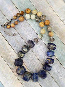 Lapis Necklace with Amazonite and Jasper - Summer Indigo