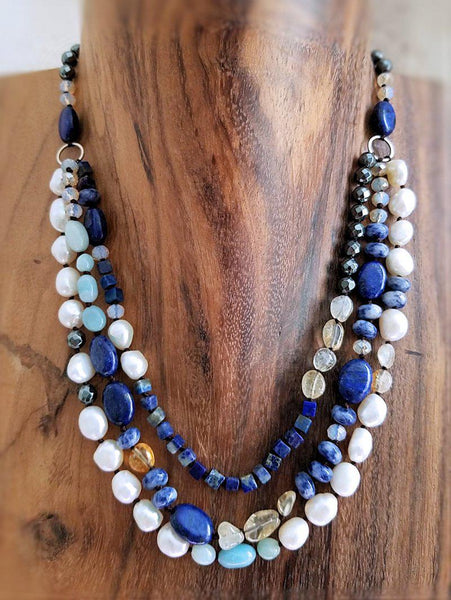 Lapis Pearl and Sodalite Necklace - Summer Indigo