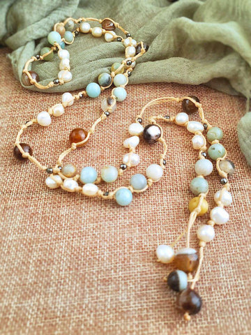 Amazonite and Pearl Lariat Necklace - Summer Indigo