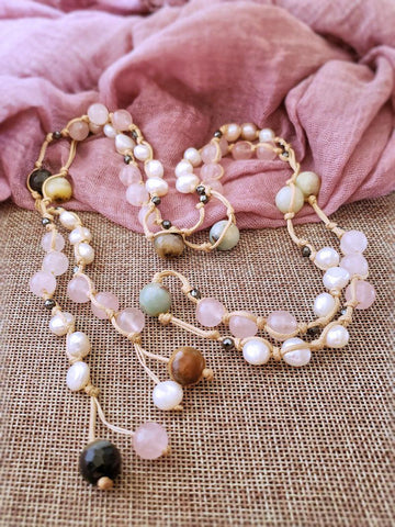 Rose Quartz Lariat Necklace with Pearl - Summer Indigo