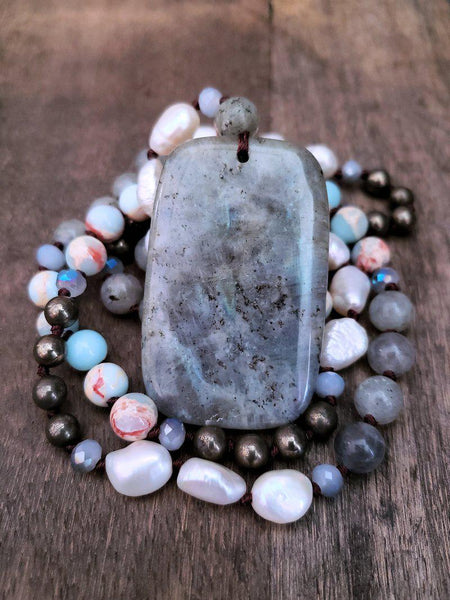 Labradorite Necklace with Pearl, Pyrite and Shoshuan Stone - Summer Indigo