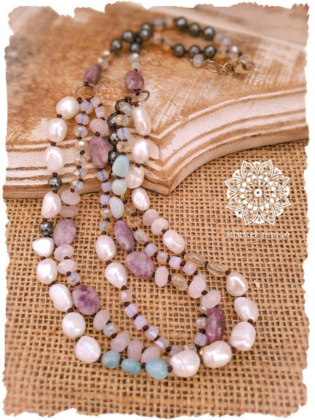 Amazonite Purple Jasper and Pearl Necklace - Summer Indigo