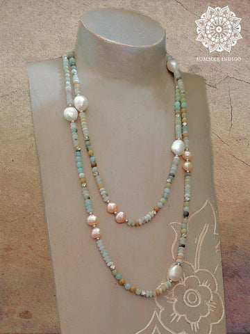 Amazonite and Pearl Necklace - Summer Indigo