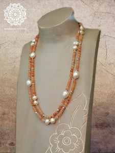 Carnelian and Pearl Necklace - Summer Indigo
