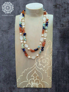 Rose Quartz and  Pearl Double Strand Necklace - Summer Indigo