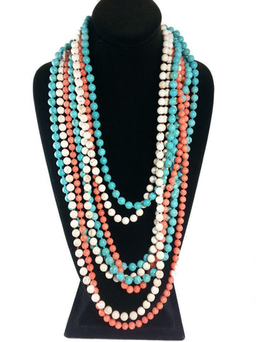 Semi-precious Stone Rope Necklaces - Summer Indigo