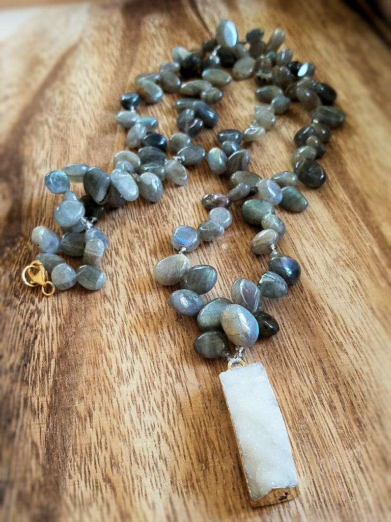 Labradorite and Druzy Necklace - Summer Indigo