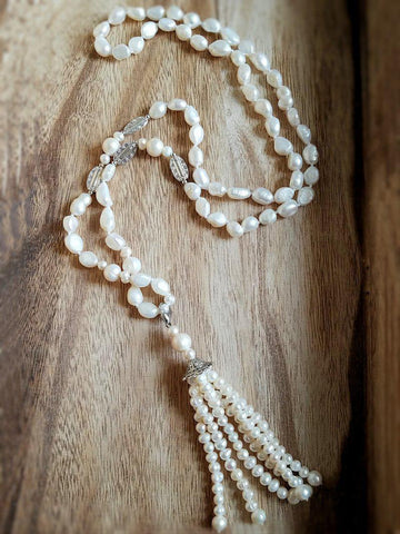 Pearl Tassel Necklace - Summer Indigo