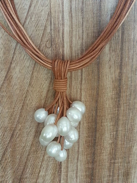 Leather & Pearl Necklace - Summer Indigo