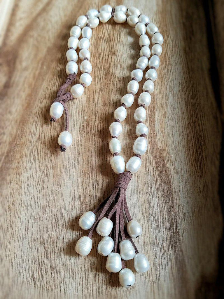 Pearl & Suede Necklace