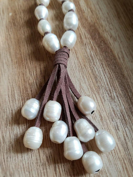 Pearl & Suede Necklace - Summer Indigo