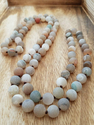 Warm Neutrals Druzy Agate Necklace - Summer Indigo