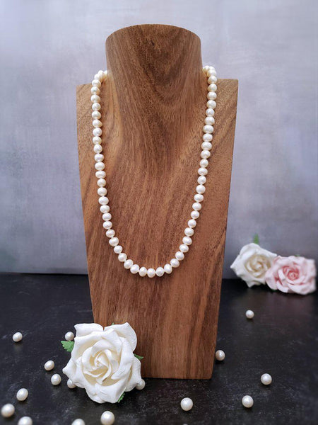 Dainty Pearl Necklace - Ivory or Peach Mix - Summer Indigo