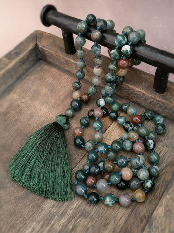 Indian Agate 108 Bead Mala Necklace - Summer Indigo