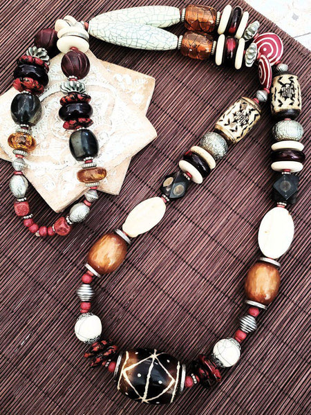 Tribal Style Necklace - Warm Neutrals - Summer Indigo