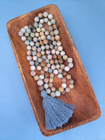 Amazonite Mala Necklace - 108 Beads - Summer Indigo