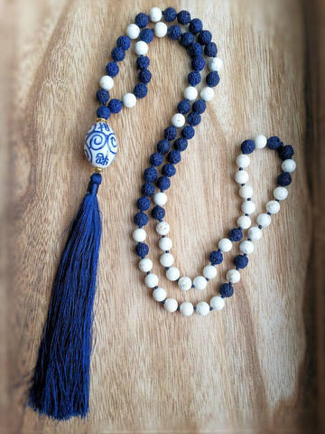 China Blue Tassel necklace