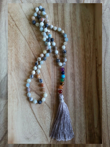 Amazonite Chakra Tassel Necklace - Summer Indigo