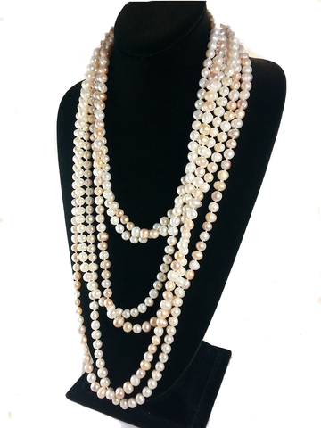 Long Knotted Pearl Necklaces