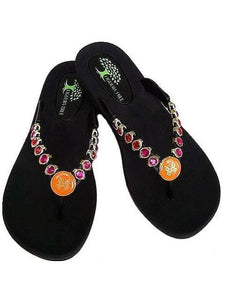 Orange & Pink Butterfly Crystal Sandals - Summer Indigo