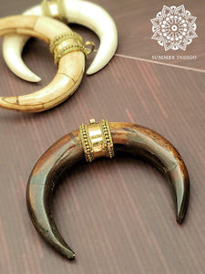 Double Horn Pendant - Dark Brown - Summer Indigo