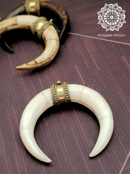 Double Horn Pendant - Bone White - Summer Indigo