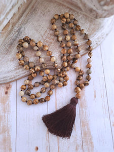 Picture Jasper Mala Necklace - Summer Indigo