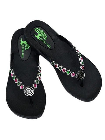 Green & Pink Crystal Sandals w/ Spiral