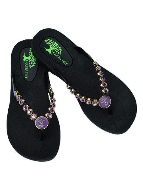 Purple & Gold Crystal Sandals w/ Fleur De Lys - Summer Indigo