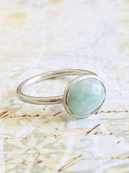 Lovely Amazonite Ring Gold - Summer Indigo