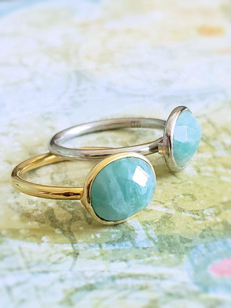 Delicate Amazonite Ring Silver - Summer Indigo