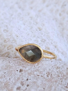 Labradorite or Moonstone Rings, Adjustable - Summer Indigo