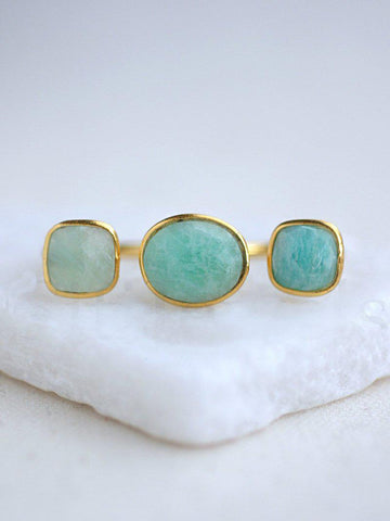 Triple Gemstone Rings - Silver or Gold Vermeil - Summer Indigo