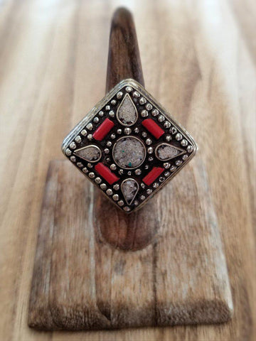 Moonstone and Coral Ring - Summer Indigo