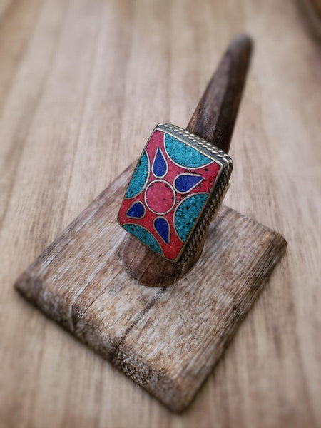 Tibetan Coral, Turquoise and Lapis ring - Summer Indigo