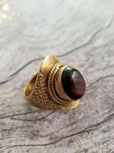 Red Tiger Eye Ring - Summer Indigo
