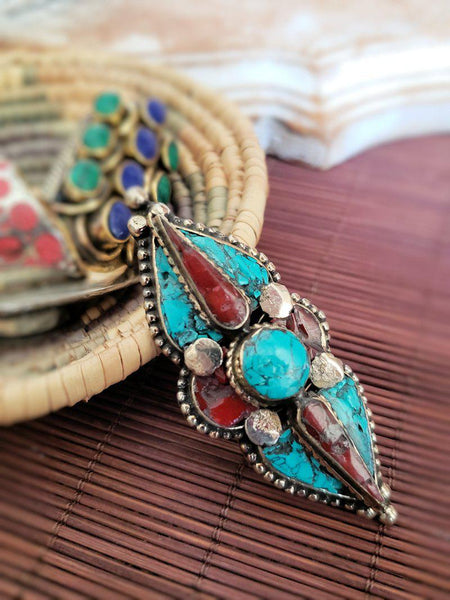 Tibetan Ring - Turquoise and Coral - Summer Indigo