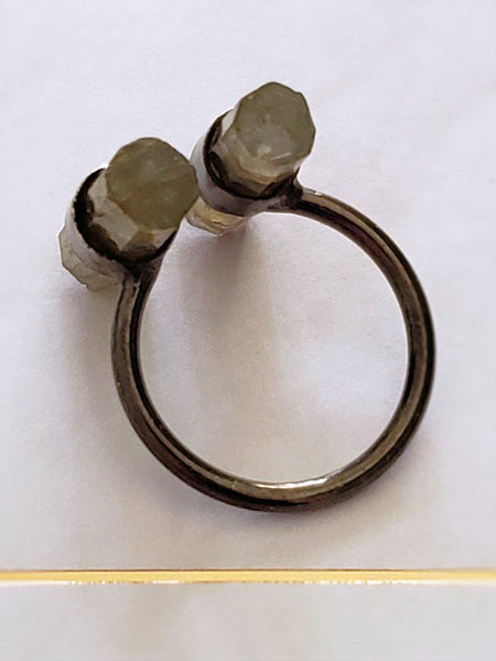 Labradorite Wand Ring in Oxidized Silver - Summer Indigo